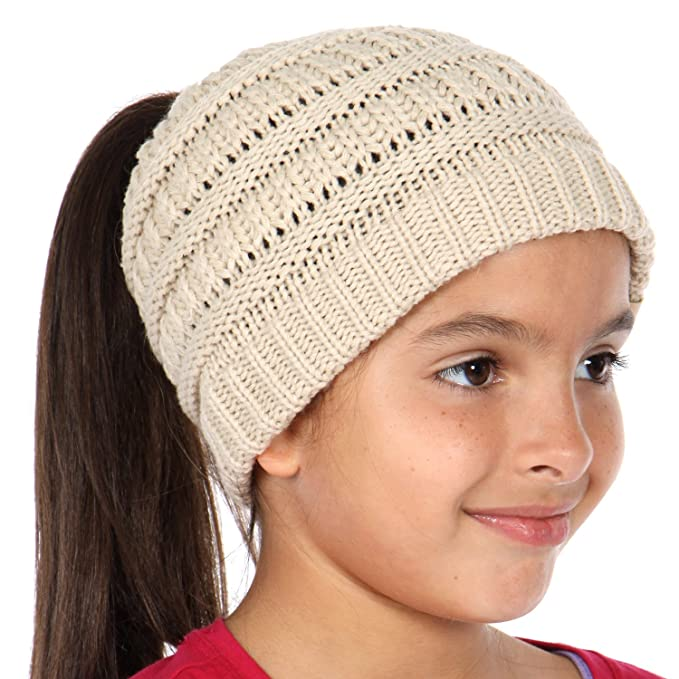 Plum Feathers Beanie Tail Kids Soft Stretch Cable Knit Messy High Bun Ponytail  Beanie Hat ( 74c749ccb5b