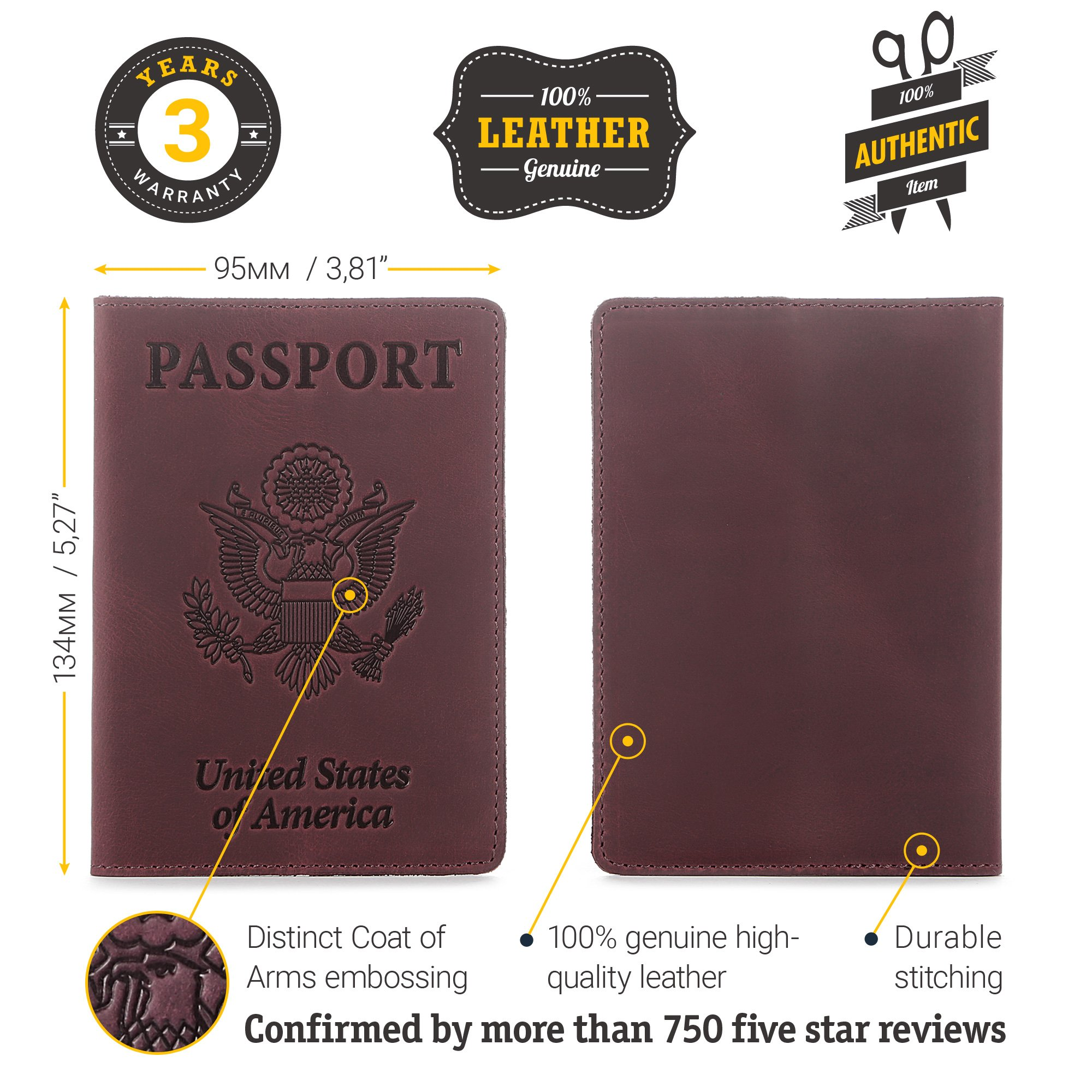 Shvigel Leather Passport Cover - Holder - for Men & Women - Passport Case (Maroon Vintage) by Shvigel (Image #3)