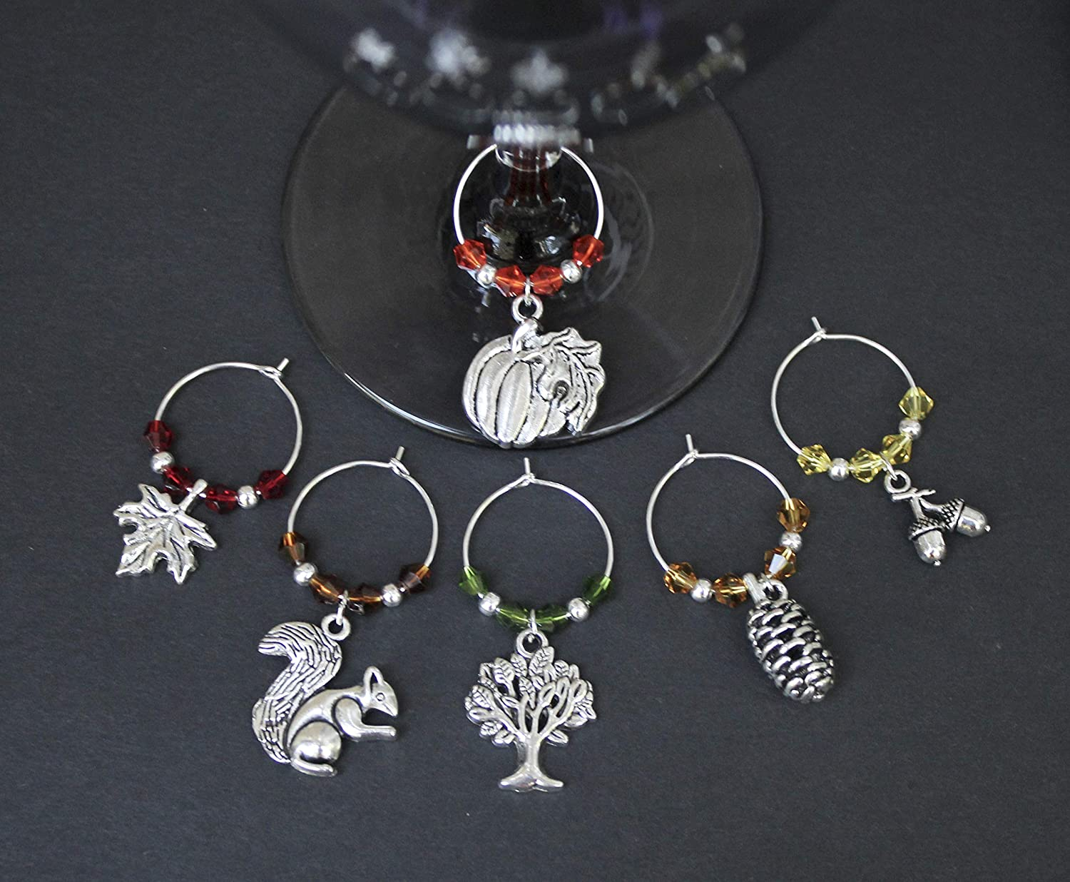 Fall-Thanksgiving-Wine Glass Charms-Set of 6
