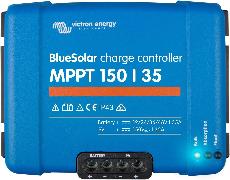Victron BlueSolar MPPT 150/35 35A - Controlador de carga solar para paneles solares de hasta 500 W (12 V), 1000 W (24 V), 1500 W (36 V), 2000 W (48 V), hasta 150 V