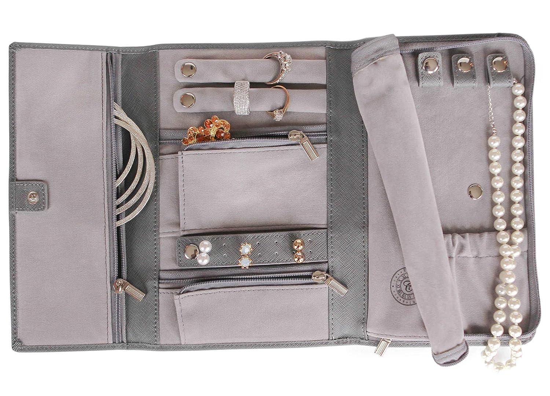 Astuccio da Viaggio in Pelle Saffiano per Gioielli – Organizzazione di Gioielli [Petite] di Case Elegance CE-LEATHER-JEWELRY-GREY