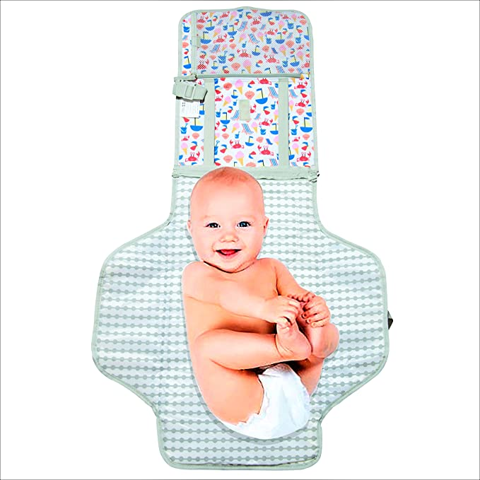 tiddler Easy-Change mat Lightweight /& Wipe Clean Detachable Clutch /& Clip Padded Lining Portable Baby /& Toddler Travel Changing Mat Multiple Zipped Pockets Expandable