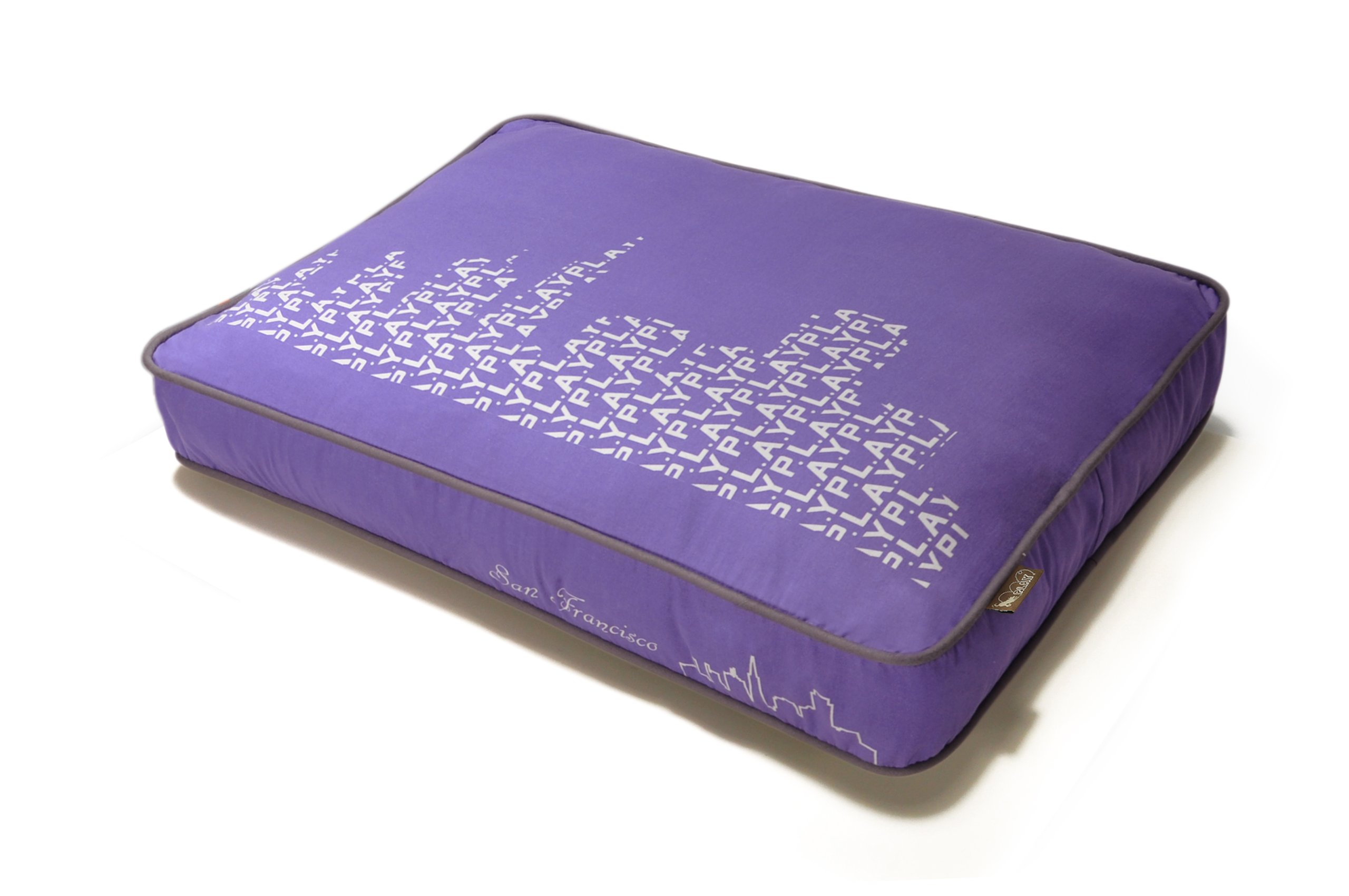 P.L.A.Y. Rectangular Bed with Eco-Friendly Filler and 100-Percent Cotton Cover, Purple/Sfyline