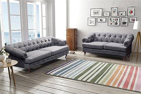 Sofá Oxford Chesterfield con tela de lino (2 plazas, gris ...