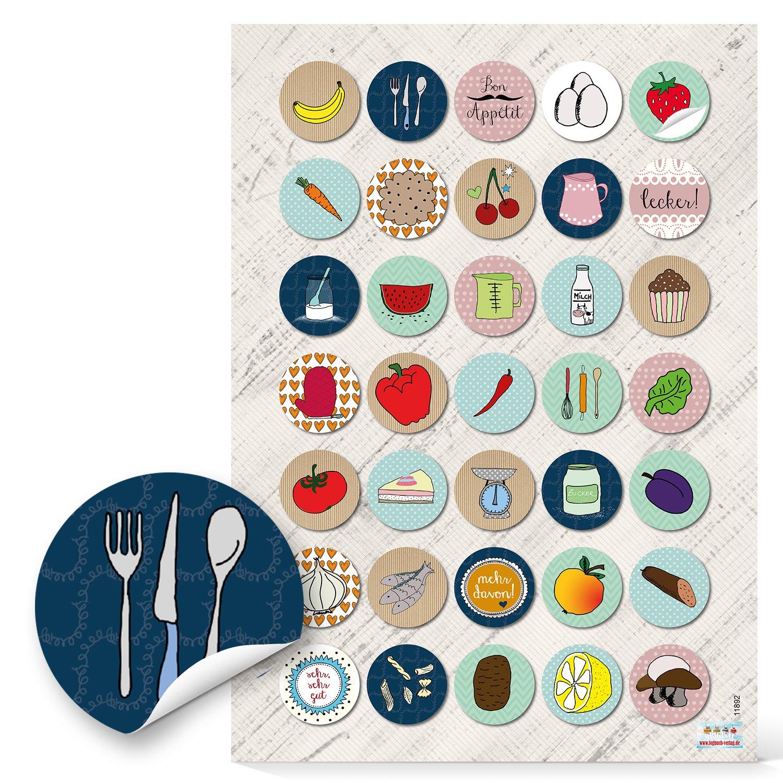 70unidades pequeñas redondas multicolores hierbas Frutas Verduras adhesivos etiquetas 3cm alimentos y para decorar embellecer de recetas de cocina cocción Copas de libros libros de recetas Retro Diseño Jeanette Dietl