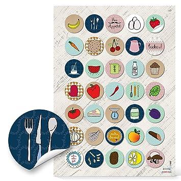 033928d3d427d 70 unidades pequeñas redondas multicolores hierbas Frutas Verduras  adhesivos etiquetas 3 cm alimentos y para decorar