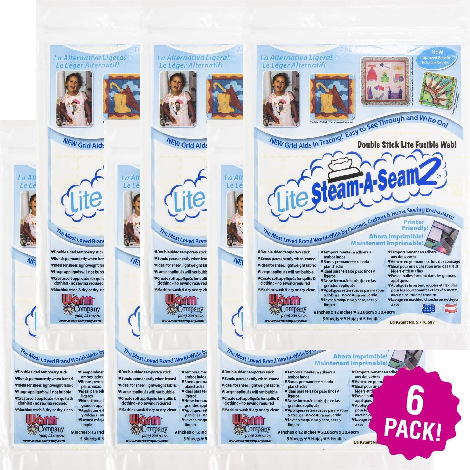 Warm and Natural 97764 Warm Company Lite Steam-A-Seam 2 Fusible Web 5pc 6//Pk-Double Stick 9X12 FOB MI 6 Pack