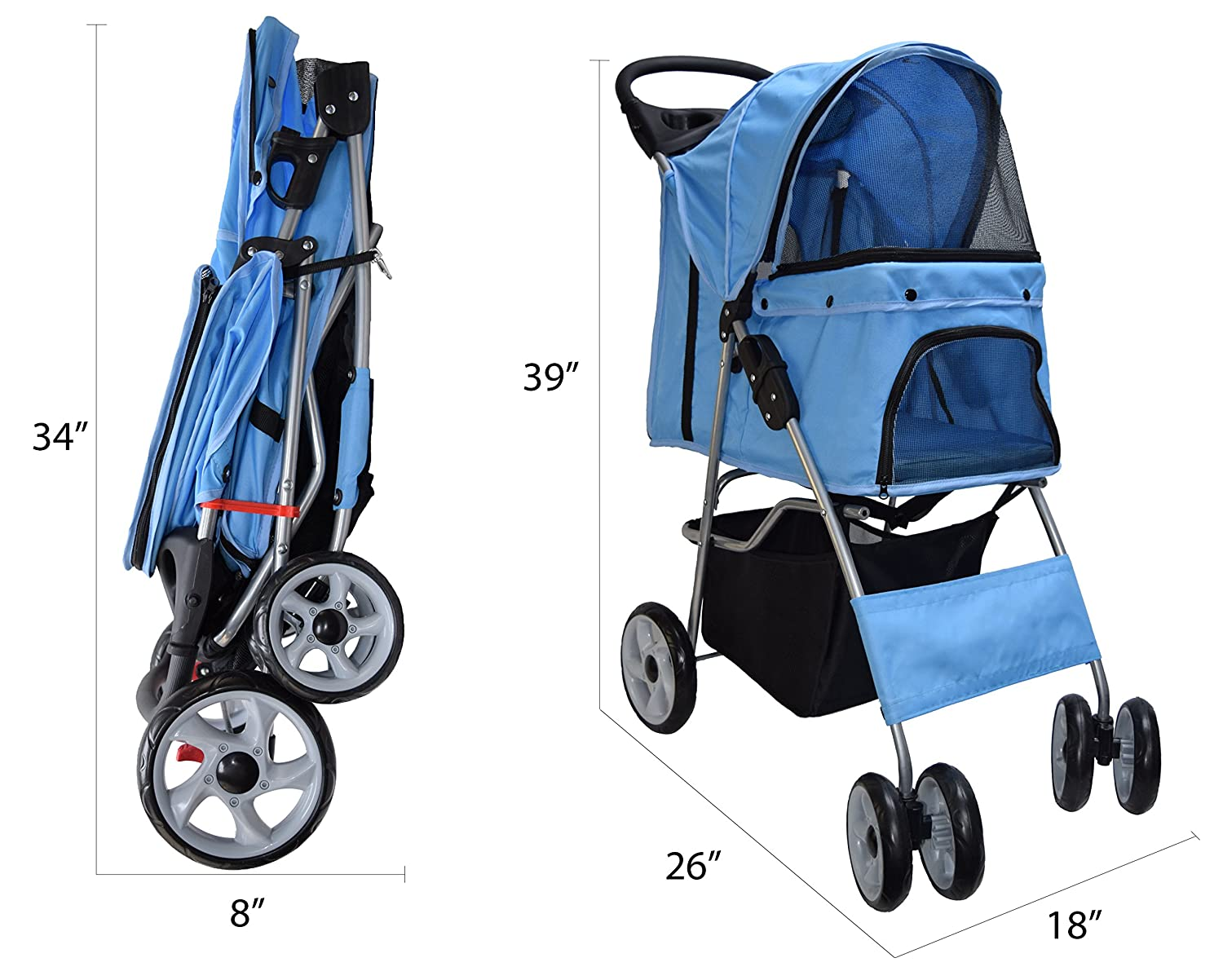 VIVO Four Wheel Pet Stroller, for Cat, or Dog, Foldable Carrier Strolling Cart, Multiple Colors (Blue)