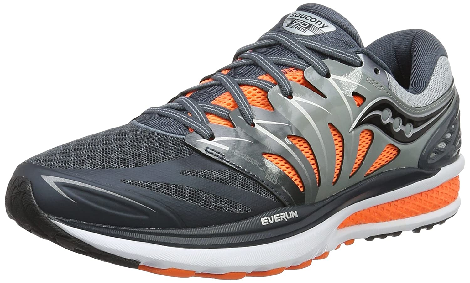 Saucony Hurricane ISO 2 - Zapatillas de Running de competición Hombre 43 EU|Multicolor (Grey/Charcoal/Or Pa)