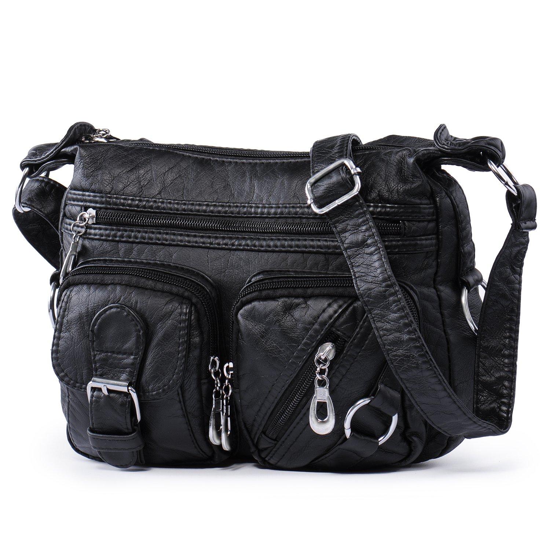 459ec64803d6 Buy Small Crossbody Bag for Women Washed Leather Messenger Shoulder Bags  Girls Multi Pocket Cellphone Purse Organizer Casual Travel Purses Katloo  (Black) ...