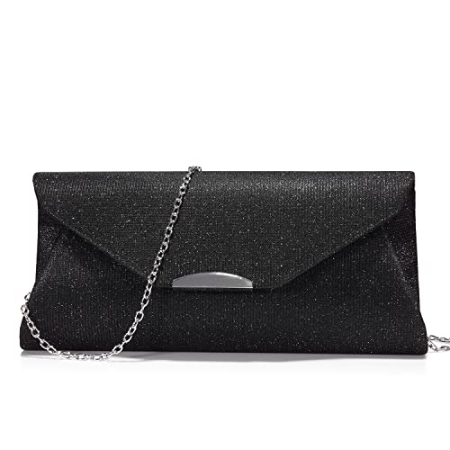 2b9262677429 Evening Bags and Clutches for Women Shiny Chain Purse Party Wedding Prom  Classical Black