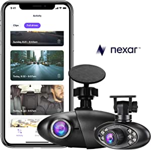 Nexar Pro Dual Dash Cam for Uber & Lyft Drivers | Road & Interior Recording | WiFi | SD Card and Unlimited Cloud Storage