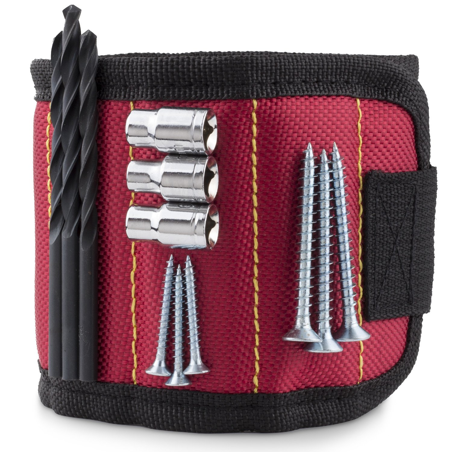 STEVEN G Magnetic Adjustable Size Wristband for Holding Screws, Nails, Drill Bits, Small Tools with 10 Strong Magnets Best Tool Gift for Professional or DIY Handy Man or Woman at Home or Work, Red by STEVEN G (Image #8)
