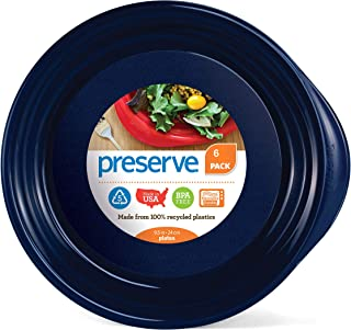 product image for Preserve Everyday BPA Free Dinner Plates Made from Recycled Plastic in the USA, Set of 6, Midnight Blue