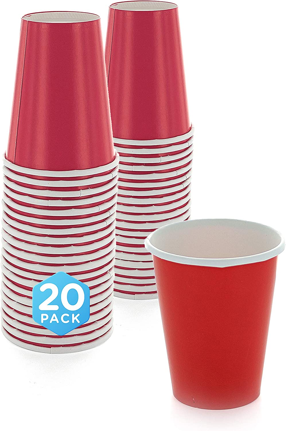 SparkSettings Disposable Paper Cups Drinking Paper Cup for Both Hot and Cold Beverages Perfect for Coffee, Tea, Water or Juice - Apple Red, Pack of 20