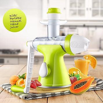 Bon Venu lenta Manual Juicer - Exprimidor de Frutas Verduras Exprimidor Manual - base- de succión Kids helado Maker Juice Extractor Masticating extrusor ...
