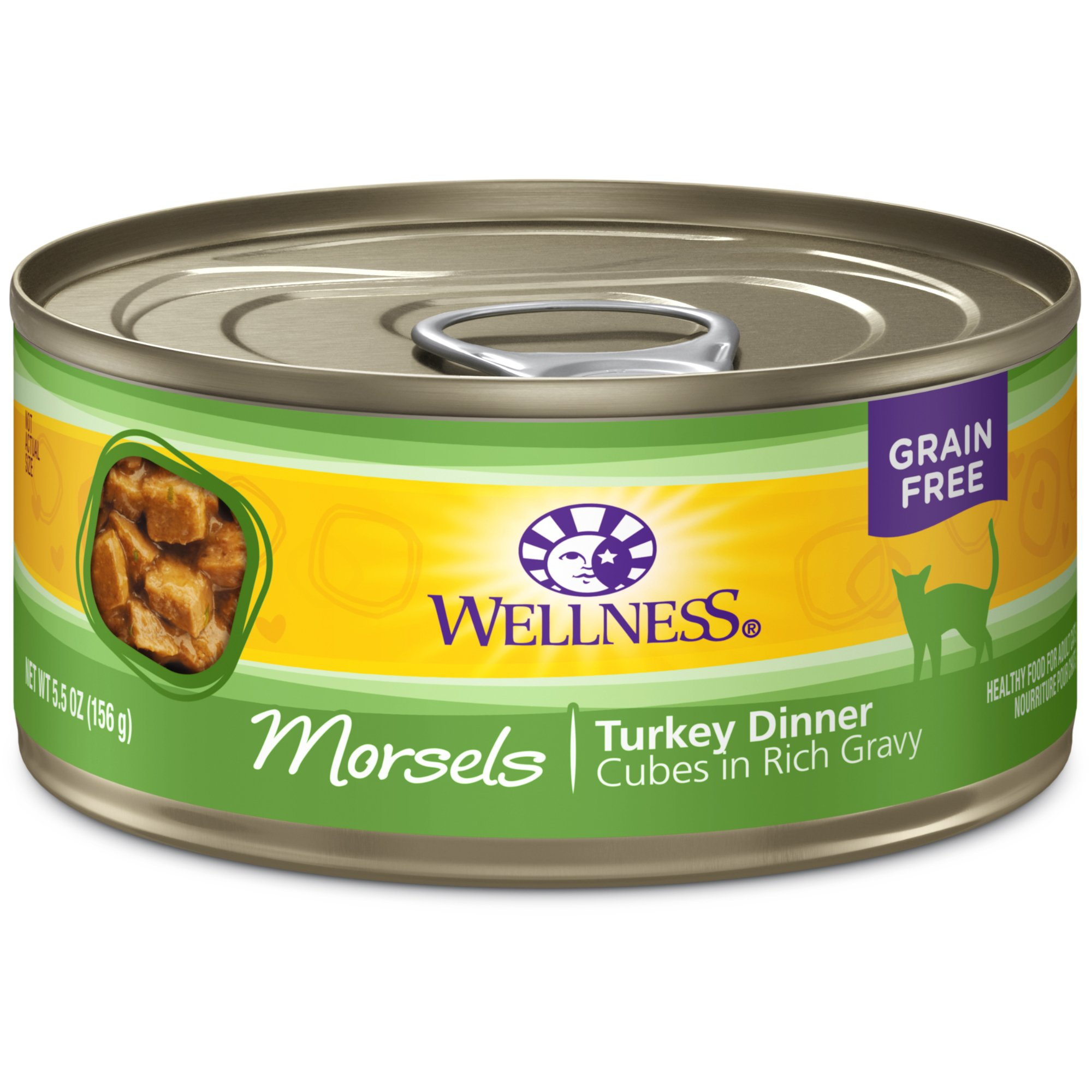 Wellness Complete Health Natural Grain Free Wet Canned Cat Food, Morsels Turkey Dinner, 5.5-Ounce Can (Pack Of 24) by Wellness Natural Pet Food