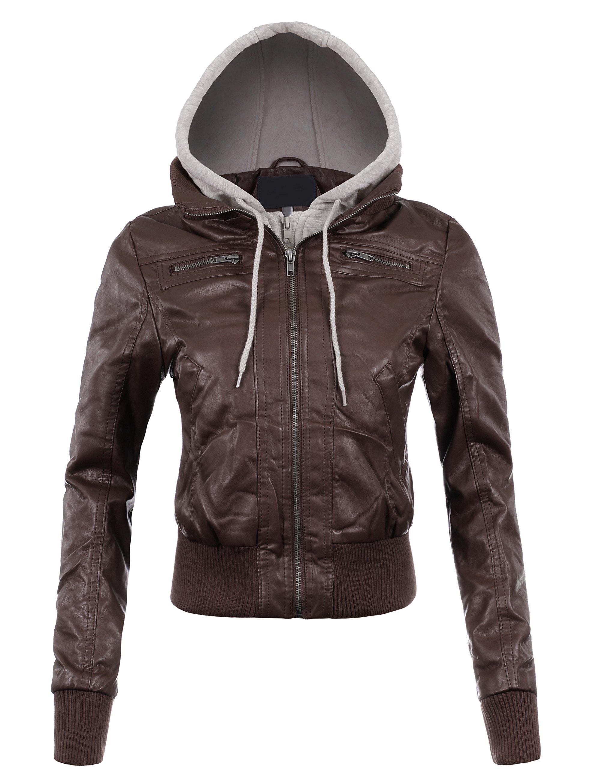 BEKTOME Womens Fleece Hood Faux Leather Zip Up Moto Biker Bomber Jacket -S-COFFEE