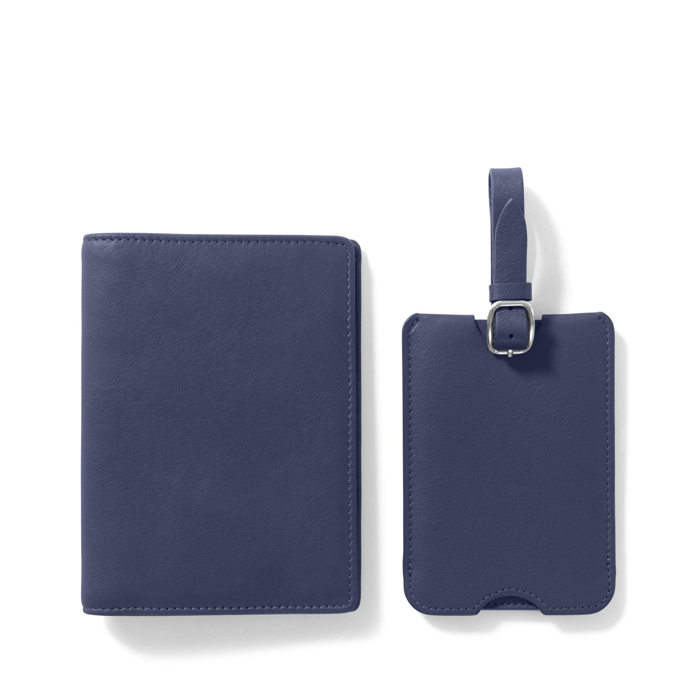 Deluxe Passport Cover + Luggage Tag Set - Full Grain Leather - Navy (blue)