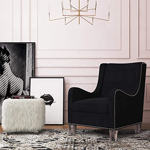 CosmoLiving by Cosmopolitan Nixon Modern Velvet Fabric Upholstered Accent Chair with Nailhead Trim and Acrylic Legs, Black