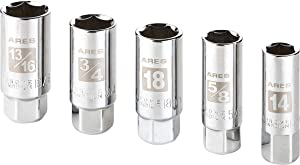ARES 70011-5-Piece High Visibility 3/8-Inch Drive SAE & Metric Spark Plug Socket Set - Heat Treated CR-V Steel Mirror Polish Sockets with Rubber Retaining Rings - Spark Plug Removal