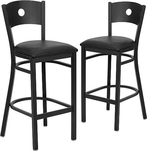 Flash Furniture 2 Pk. HERCULES Series Black Circle Back Metal Restaurant Barstool