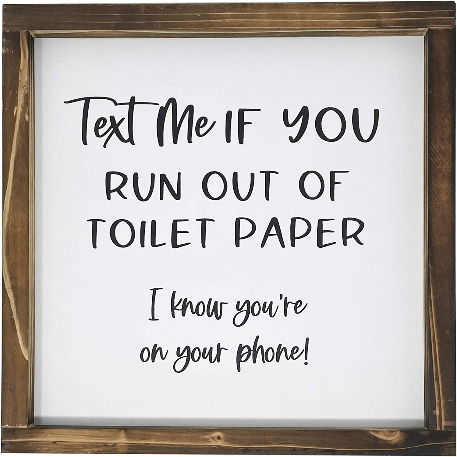 Text Me Sign For Bathroom-Rustic Farmhouse Decor Sign, Funny Guest Bathroom Wall Art, Modern Restroom Sign For Wall With Funny Quotes, Cute Home Decoration, 12x12 Inch