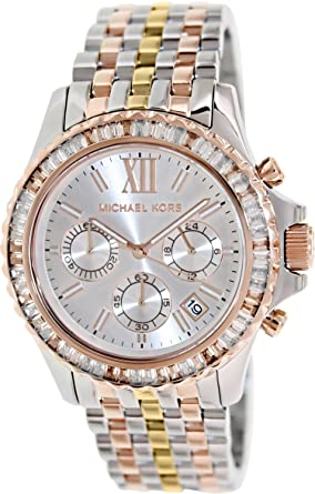 26107f13d126 Amazon.com  Michael kors MK5876 Everest White Chrono Dial Tri-Tone Bracelet  Women Watch NEW  Michael Kors  Watches