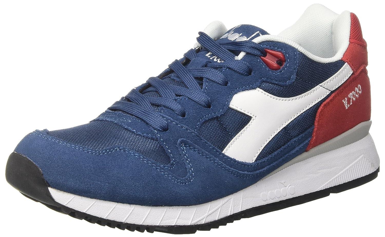 Diadora Herren V7000 NYL Ii Sneaker Schwarz Blu Denim Scuro Rosso Capitale