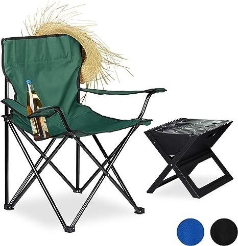 Relaxdays, Verde Silla Camping Plegable Acolchada con Reposabrazos ...