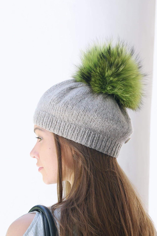Emerald Real Fur Pom Pom Raccon Pompom for Hat Large