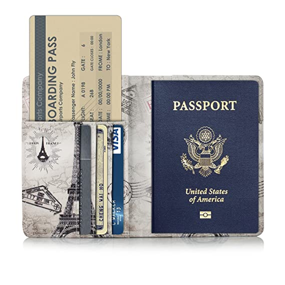 Amazon anvas passport holder travel wallet premium vegan anvas passport holder travel wallet premium vegan leather rfid blocking case cover securely holds colourmoves