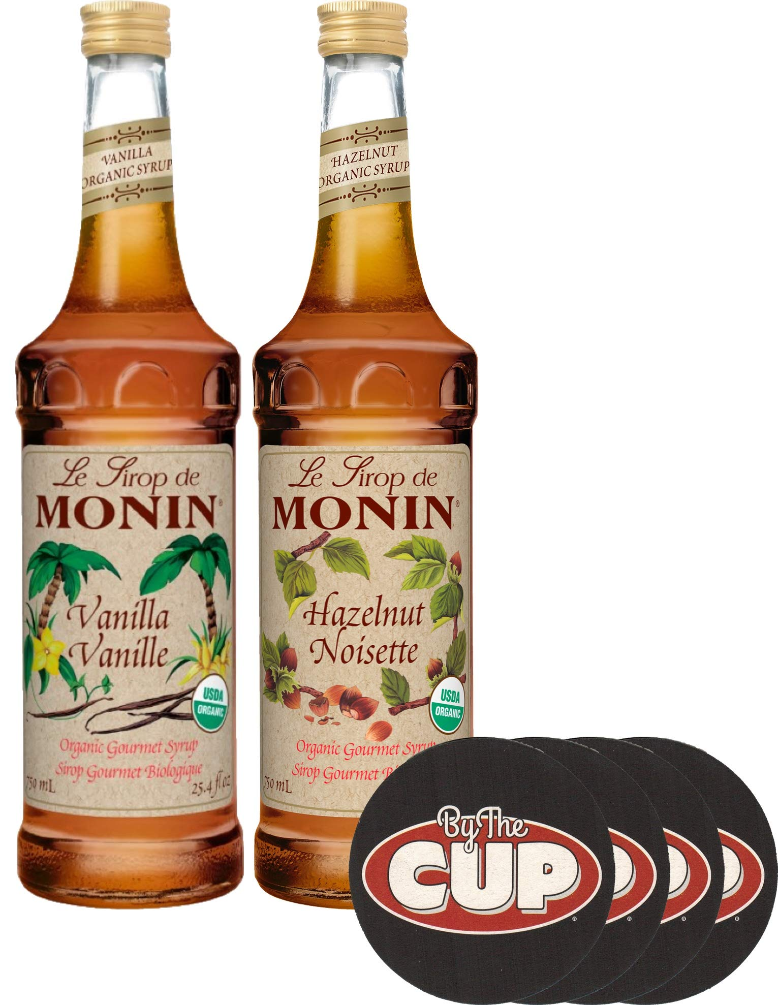 Monin Organic Coffee Syrup Vanilla and Hazelnut 750 ml Bottles with Set of By The Cup Coasters