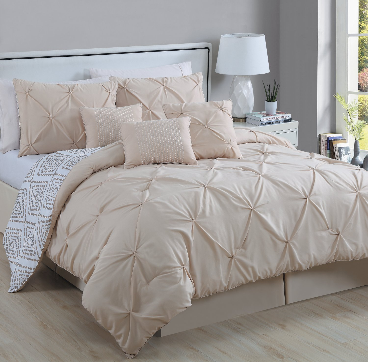 s set prod diamond pintuck pleat pinched hg pinch ruched pc src station comforter ruffled brown com p pleated