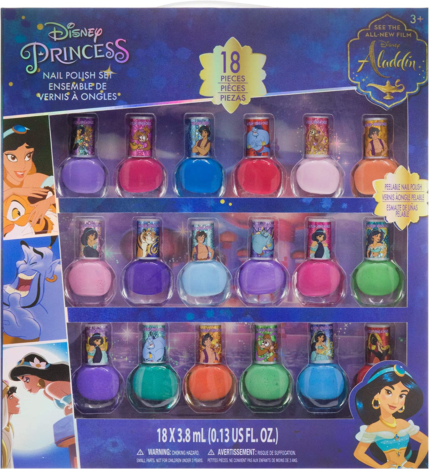 Townley Girl Disney Princess Jasmine Non-Toxic Peel-Off Nail Polish Set for Girls, Glittery and Opaque Colors, Ages 3+ (18 Pack)