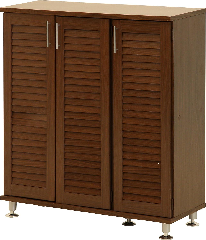 不二貿易 玄関 ルーバー シューズ ボックス ワイド ブラウン 90483 B0056EKNNYワイド(幅90.5cm)