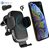 CharGenius Wireless Car Charger CD Slot Mount, Auto Clamping Phone Holder, Air Vent for iPhone 11 Pro XS Max XR X 8+, Android