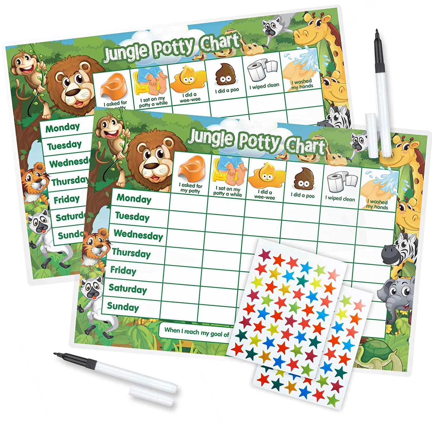 Funky Monkey House TWIN PACK Jungle Potty Training TWIN PACK (including FREE Star Stickers and Pen)