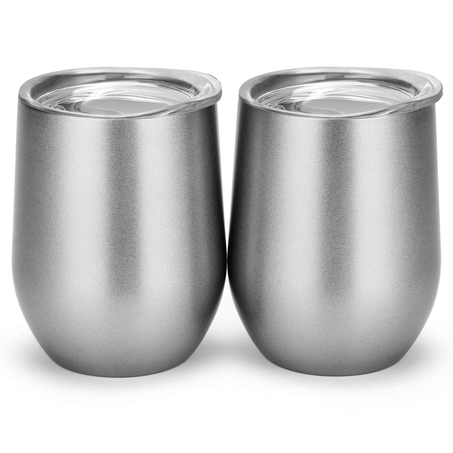12 oz Double-insulated Stemless Glass, Stainless Steel Tumbler Cup with Lids for Wine, Coffee, Drinks, Champagne, Cocktails, 2 Sets (Silvery)