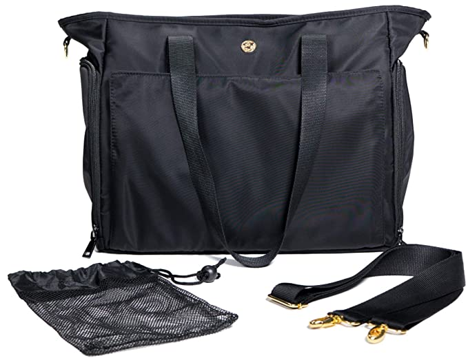 Leather Handle Breast Pump Tote for Working Mothers Black Luxja Breast Pump Bag with Pockets for Laptop and Cooler Bag Fits Most Major Breast Pump