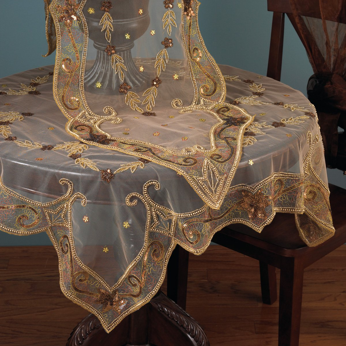 Beautiful Amazon.com: Gorgeous Hand Beaded Gold Jasmine Tablecloth. One Piece. 60  Inch Square.: Home U0026 Kitchen