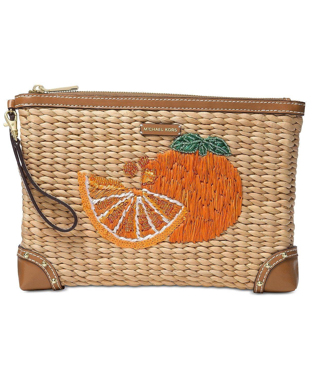 d756d32e823e Michael Kors Extra Large Woven Malibu Orange Zip Clutch, Natural/Tangerine:  Handbags: Amazon.com