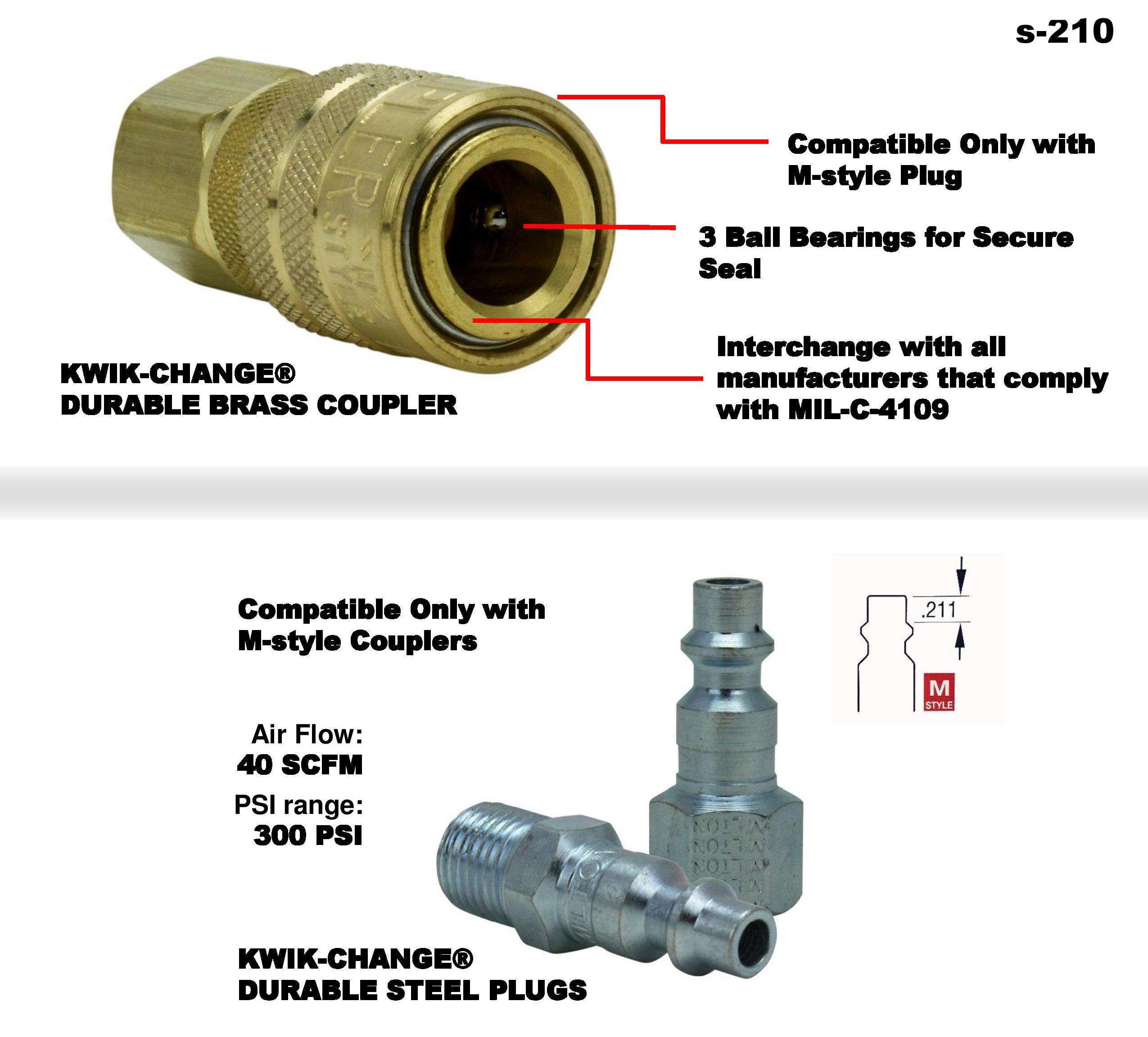 Milton (S-210) 1/4'' NPT M-Style Coupler and Plug Kit, (12-Piece)