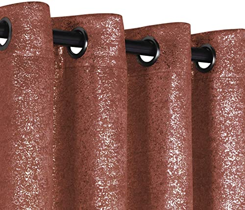 GoodGram 2 Pack Sparkle Chic Thermal Blackout Curtain Panels – Assorted Colors Sizes Spice, 84 in. Long