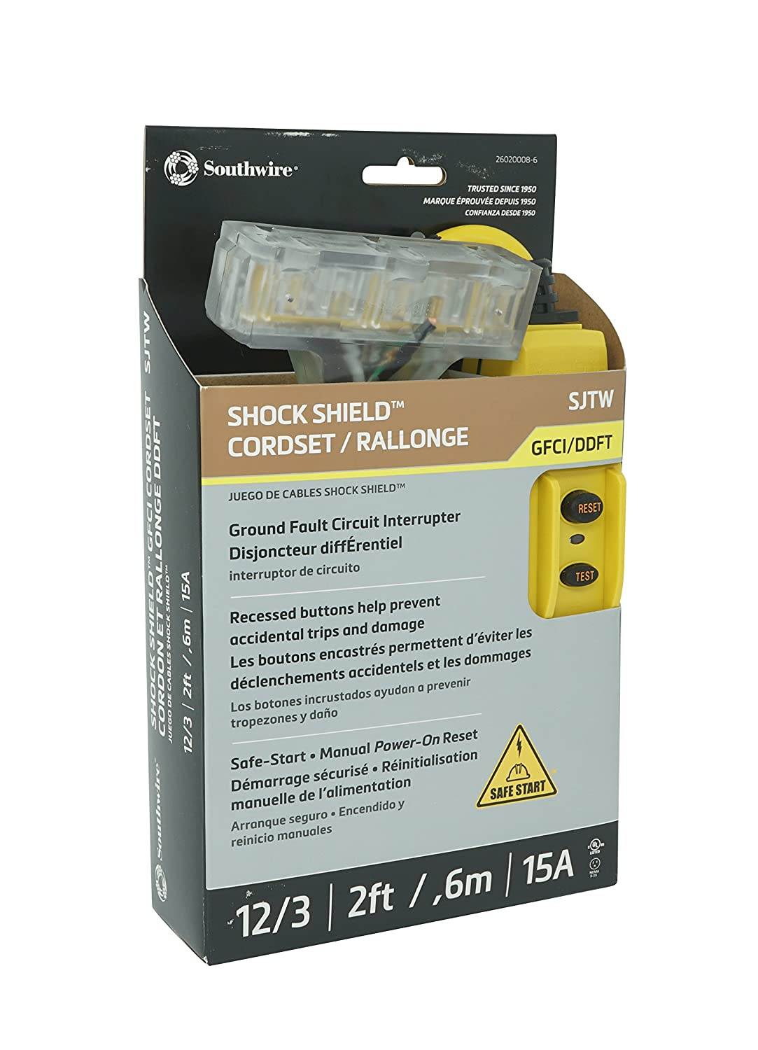 Trc 26020008 6 12 3 Gauge Shockshield Gfci Protected In Line Tri Circuit Breaker Wiring Schematic Cord Set With Outlets 2 Feet 15 Amp Yellow Tools Home Improvement Amazon Canada
