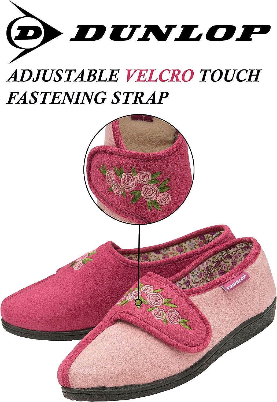 Dunlop Femme Floral Imprim/é Pantoufles en Mousse /À M/émoire Chaussons avec Fermeture Velcro pour Personne agee