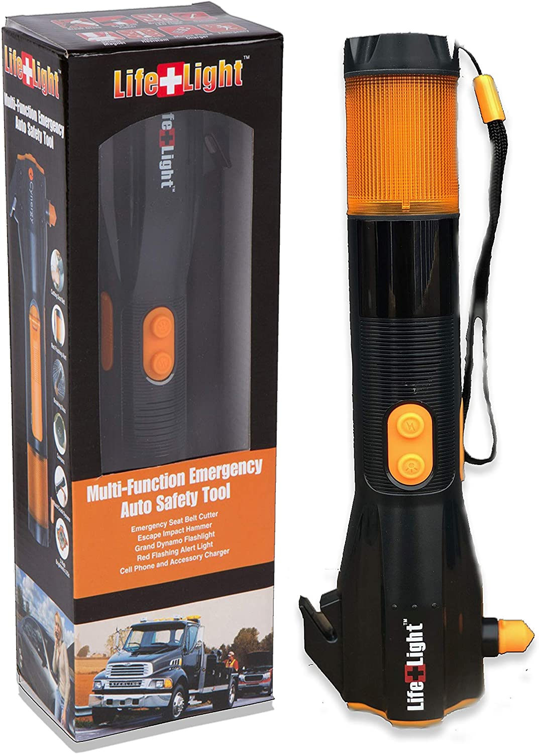 Image of a Cynergy flashlight in yellow-orange colors, with box and lanyard.