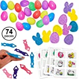 Easter Favors for Easter Egg Hunt Party / Classroom Prizes / Easter Basket Stuffers 74 Pcs Assorted Pack