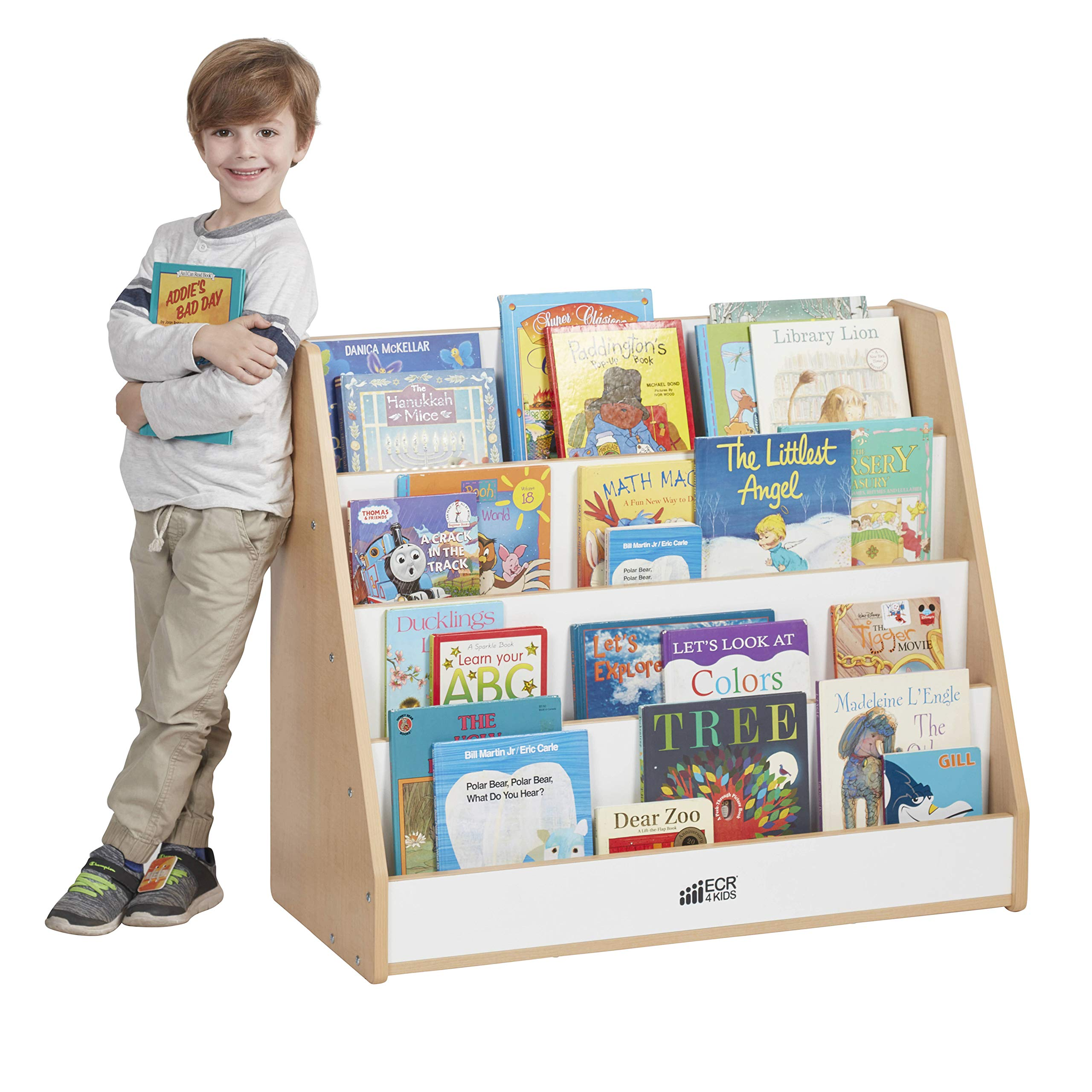 ECR4Kids Colorful Essentials 4-Tier Book Display Stand, White and Maple by ECR4Kids (Image #1)