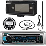 """Kenwood KMR-D368BT MP3/USB/AUX Marine Boat Stereo Receiver CD Player Bundle Combo W/ Protective Cover + Wired Remote Control + Enrock Water Resistant 22"""" Radio Antenna + Outdoor Rubber Mast 45 Antenna"""
